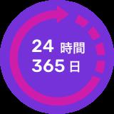 24時間365日体制のサポート窓口