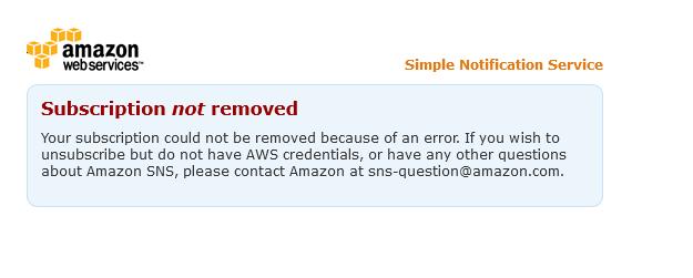 Amazon SNS、unsubscribeが無効化